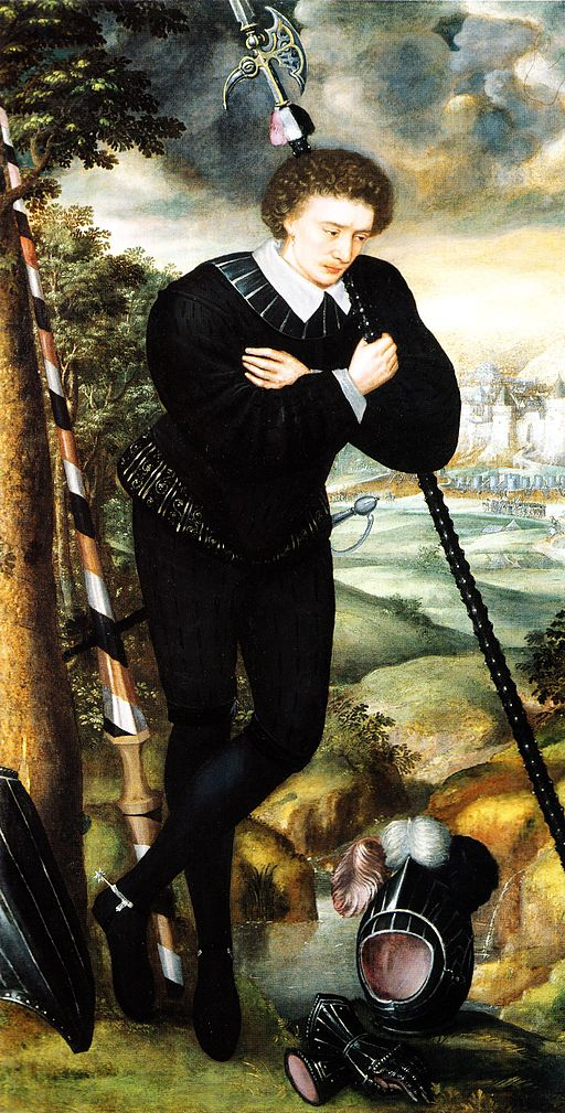 Portrait of a young man standing under a tree, leaning on a halberd in the attitude of a melancholy shepherd, gazing at a suit of black tilting armour, with a fortified city and a battle in progress in the distance. Probably Sir Robert Sidney; possibly Sir Thomas Knollys.
